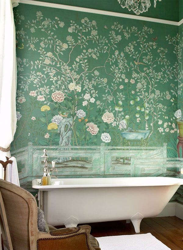 Green Floral Wallpaper in Bathroom