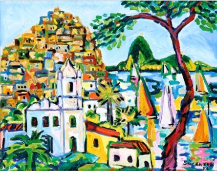 Carlos H Sorensen (1928-2008), Morro da Favela,1994, encaustica sobre tela 40x50 cm