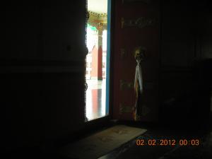 Entrance to Main Prayer Hall of a Tibetan Buddhist Monastery near Bir, Himachal Pradesh: January 2012