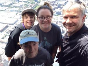 Willis Four braving the Willis Tower SkyDeck. Redundant. ;)